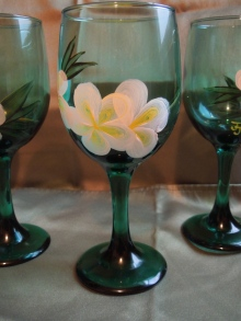 Plumeria Wine Glasses