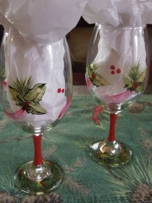 Holly wineglasses