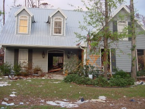 Katrina 9 – One of the washed out houses in Diamondhead. The angry thirty foot storm surge roared through the neighborhood, ripping out everything inside.
